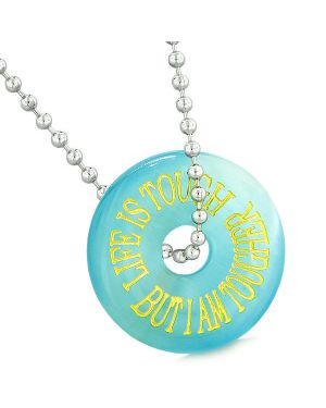 Inspiration Life is Tough But I am Tougher Amulet Donut Lucky Blue Simulated Cats Eye Necklace
