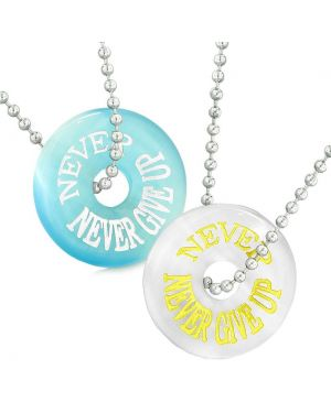 Amulets Never Never Give Up Best Friends or Love Couples White Blue Simulated Cats Eye Necklaces