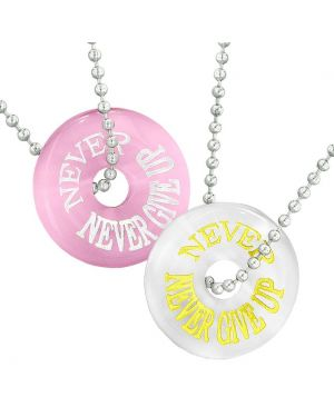 Amulets Never Never Give Up Best Friends or Love Couples White Pink Simulated Cats Eye Necklaces