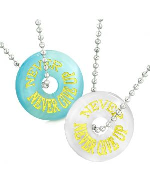 Amulets Never Never Give Up Best Friends or Love Couples Blue White Simulated Cats Eye Necklaces