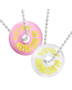 Amulets Never Never Give Up Best Friends or Love Couples Pink White Simulated Cats Eye Necklaces