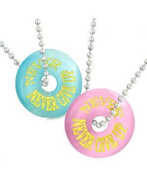 Amulets Never Never Give Up Best Friends or Love Couples Sky Blue Pink Simulated Cats Eye Necklaces