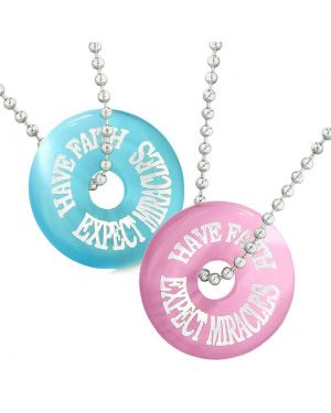 Amulets Have Faith Expect Miracles Best Friends Love Couples Pink Blue Simulated Cats Eye Necklaces