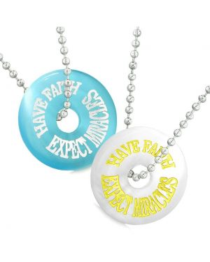 Amulets Have Faith Expect Miracles Best Friends Love Couples White Blue Simulated Cat Eye Necklaces
