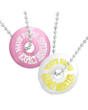 Amulets Have Faith Expect Miracles Best Friends Love Couple White Pink Simulated Cats Eye Necklaces