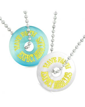 Amulets Have Faith Expect Miracles Best Friends Love Couples Blue White Simulated Cat Eye Necklaces