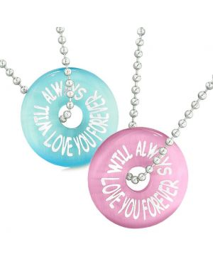 Amulets Will Always Love You Forever Best Friends Couples Pink Blue Simulated Cats Eye Necklaces