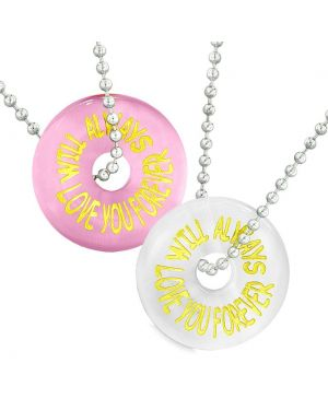 Amulets Will Always Love You Forever Best Friends Couples Pink White Simulated Cats Eye Necklaces
