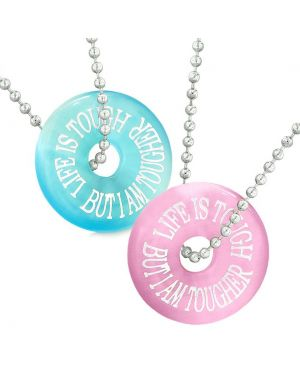 Amulets Life is Tough But I am Tougher Best Friends Couples Pink Blue Simulated Cats Eye Necklaces
