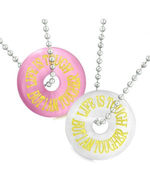 Amulets Life is Tough But I am Tougher Best Friends Couples Pink White Simulated Cats Eye Necklaces