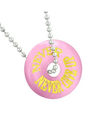 Inspiration Never Never Give Up Amulet Donut Lucky Charm Pink Simulated Cats Eye 22 Inch Necklace