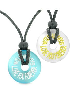 Amulets Will Always Love You Forever Couples Best Friends White Blue Simulated Cats Eye Necklaces