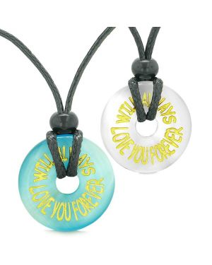 Amulets Will Always Love You Forever Couples Best Friends Blue White Simulated Cats Eye Necklaces