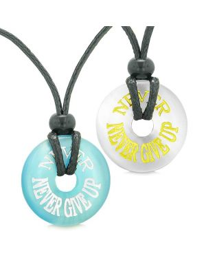 Amulets Never Never Give Up Love Couples or Best Friends White Blue Simulated Cats Eye Necklaces
