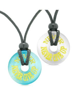 Amulets Never Never Give Up Love Couples or Best Friends Blue White Simulated Cats Eye Necklaces