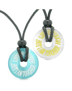 Amulets Life is Tough But I am Tougher Couples Best Friends White Blue Simulated Cats Eye Necklaces