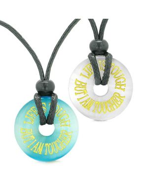 Amulets Life is Tough But I am Tougher Couples Best Friends Blue White Simulated Cats Eye Necklaces