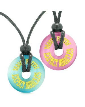 Amulets Have Faith Expect Miracles Love Couples Best Friends Blue Pink Simulated Cats Eye Necklaces