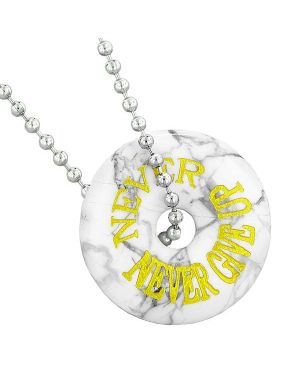 Inspirational Never Never Give Up Amulet Lucky Donut Charm White Howlite Pendant 22 Inch Necklace