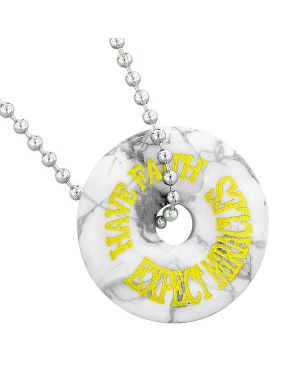 Inspirational Have Faith Expect Miracles Amulet Lucky Donut Charm White Howlite Pendant Necklace