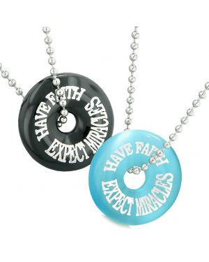 Have Faith Expect Miracles Best Friends Love Couple Amulets Agate Blue Simulated Cats Eye Necklaces