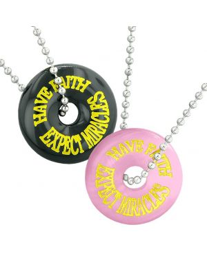 Have Faith Expect Miracles Best Friends Love Couple Amulets Pink Simulated Cats Eye Agate Necklaces