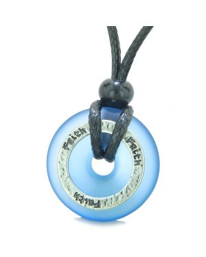 Inspirational Sea Glass Lucky Could Blue Donut Hammered Brass FAITH Energy Circle Adjustable Necklace