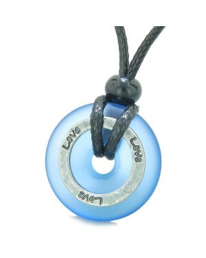 Inspirational Sea Glass Lucky Could Blue Donut Hammered Brass LOVE Energy Circle Adjustable Necklace
