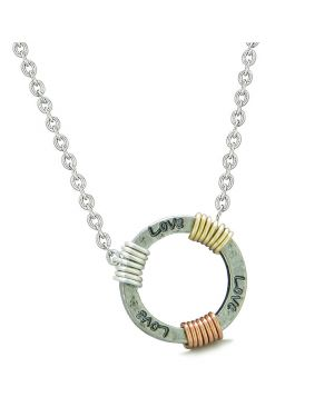 Inspirational Love Ring Rose-Yellow-Gold-Silver-Tone Tri Color Amulet Pendant 22 Inch Necklace