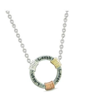 Inspirational Laugh Ring Rose-Yellow-Gold-Silver-Tone Tri Color Amulet Pendant 18 Inch Necklace