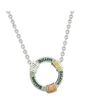 Inspirational Believe Ring Rose-Yellow-Gold-Silver-Tone Tri Color Amulet Pendant 22 Inch Necklace