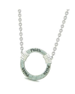 Inspirational Hammered Faith Ring Silver-Tone Positive Energy Amulet Pendant 22 Inch Necklace