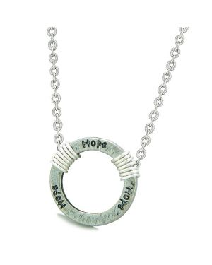 Inspirational Hammered Hope Ring Silver-Tone Positive Energy Amulet Pendant 18 Inch Necklace