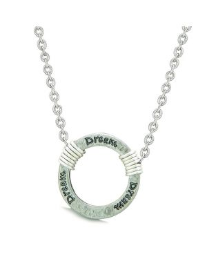 Inspirational Hammered Dream Ring Silver-Tone Positive Energy Amulet Pendant 22 Inch Necklace