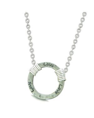 Inspirational Hammered Love Ring Silver-Tone Positive Energy Amulet Pendant 22 Inch Necklace