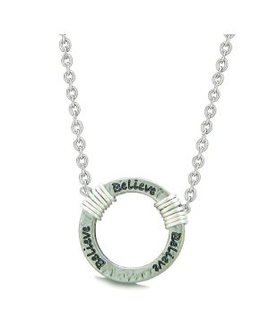 Inspirational Hammered Believe Ring Silver-Tone Positive Energy Amulet Pendant 18 Inch Necklace