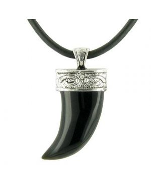 A Italian Horn Black Glass Pendant Silver Bail Rubber Necklace