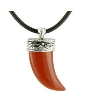 A Italian Horn Red Jasper Pendant on Silver Bail Rubber Necklace