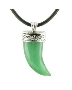 A Italian Horn Aventurine Pendant on Silver Bail Rubber Necklace