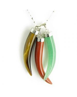 "Italian Horn Triple Lucky Gemstone Pendants 16"" Silver Necklace"