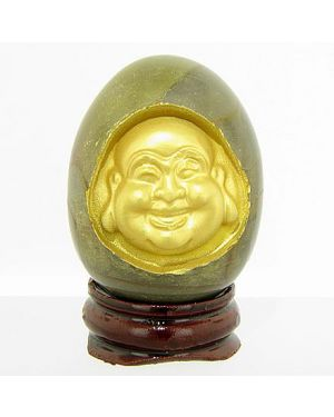 Good Luck Natural Marble Buddha Egg On Wooden Stand