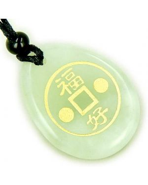 Fortune Lucky Coin Circle Good Luck Amulet Word Stone Necklace