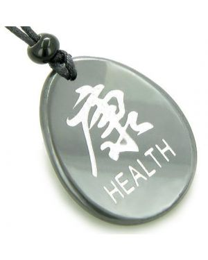 Kanji Symbol Health Hematite Amulet Word Stone Necklace