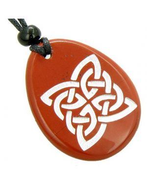Magic Celtic Shield Knot Believe Amulet Word Stone Necklace