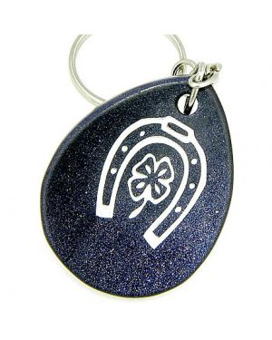 Lucky Horse Shoe And Clover Wish Stone Blue Goldstone Keychain