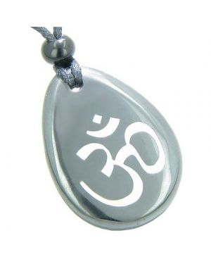 Protection & Lucky Om Symbol Wish Stone Hematite Necklace
