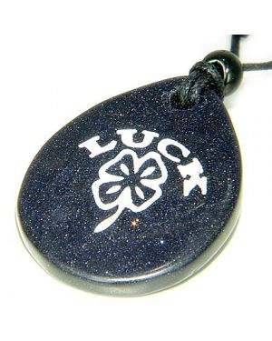 Lucky Clover Wish Stone Blue Goldstone Gemstone Necklace