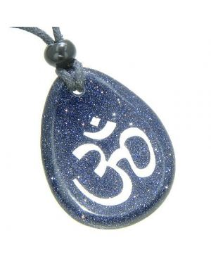 Lucky Om Symbol Wish Stone Blue Goldstone Gemstone Necklace