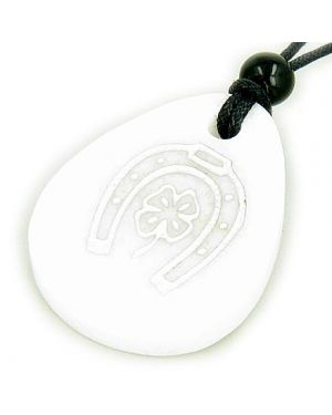 Lucky Horse Shoe Clover Wish Stone White Jade Gemstone Necklace