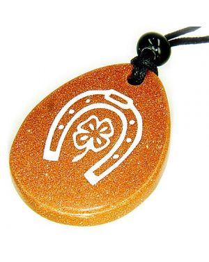 Lucky Horse Shoe Clover Wish Stone Goldstone Gemstone Necklace